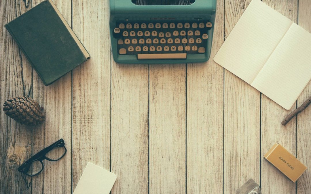 old fashioned typewriter and desk