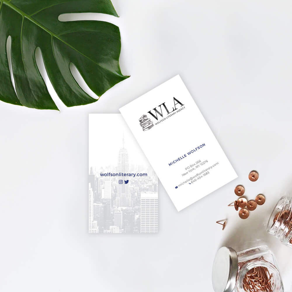 wolfson literary agency business cards on white background